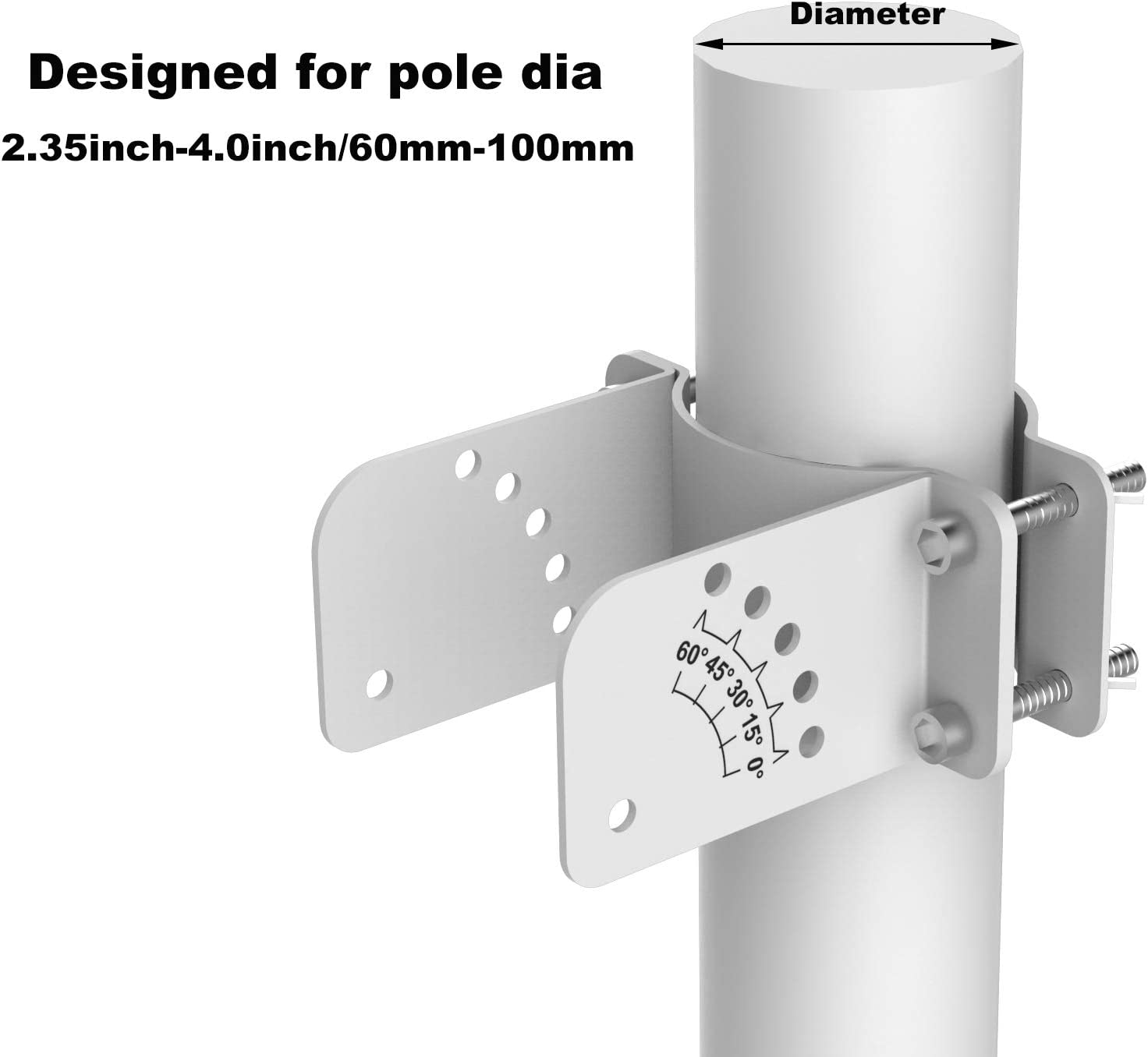 SUNER POWER Adjustable Pole Mounting Bracket Rack Kit for 50W Solar Panel - Fit Pole Dia 2.35-4.0 Inch / 60mm - 100mm: Garden & Outdoor