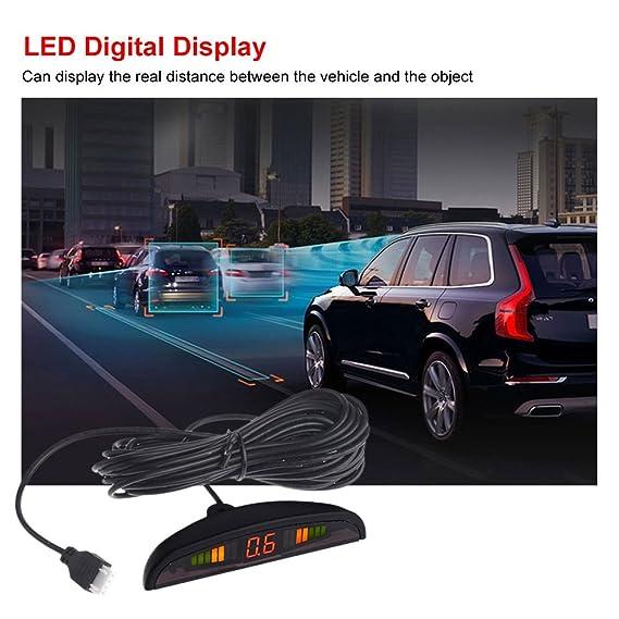 KKmoon Asistencia de Aparcamiento 4 Sensor Radar Kit Pantalla Digital LED Reverse Alarma Sistema para Coche Auto: Amazon.es: Coche y moto