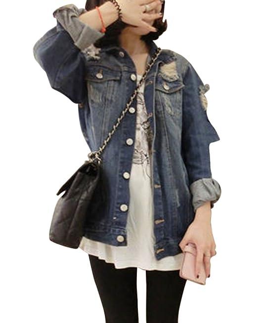 Mujeres Loose Fit Casual Manga Larga Chaquetas Jacket De Mezclilla Abrigo Destruidos Corto Denim Jacket Cazadora Vaquera: Amazon.es: Ropa y accesorios