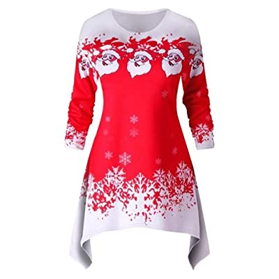 Women's Printed Crew Neck A-Line Dresses Casual Novelty Santa Claus Christmas Patterns Tunic Dress: Clothing [5Bkhe1200275]