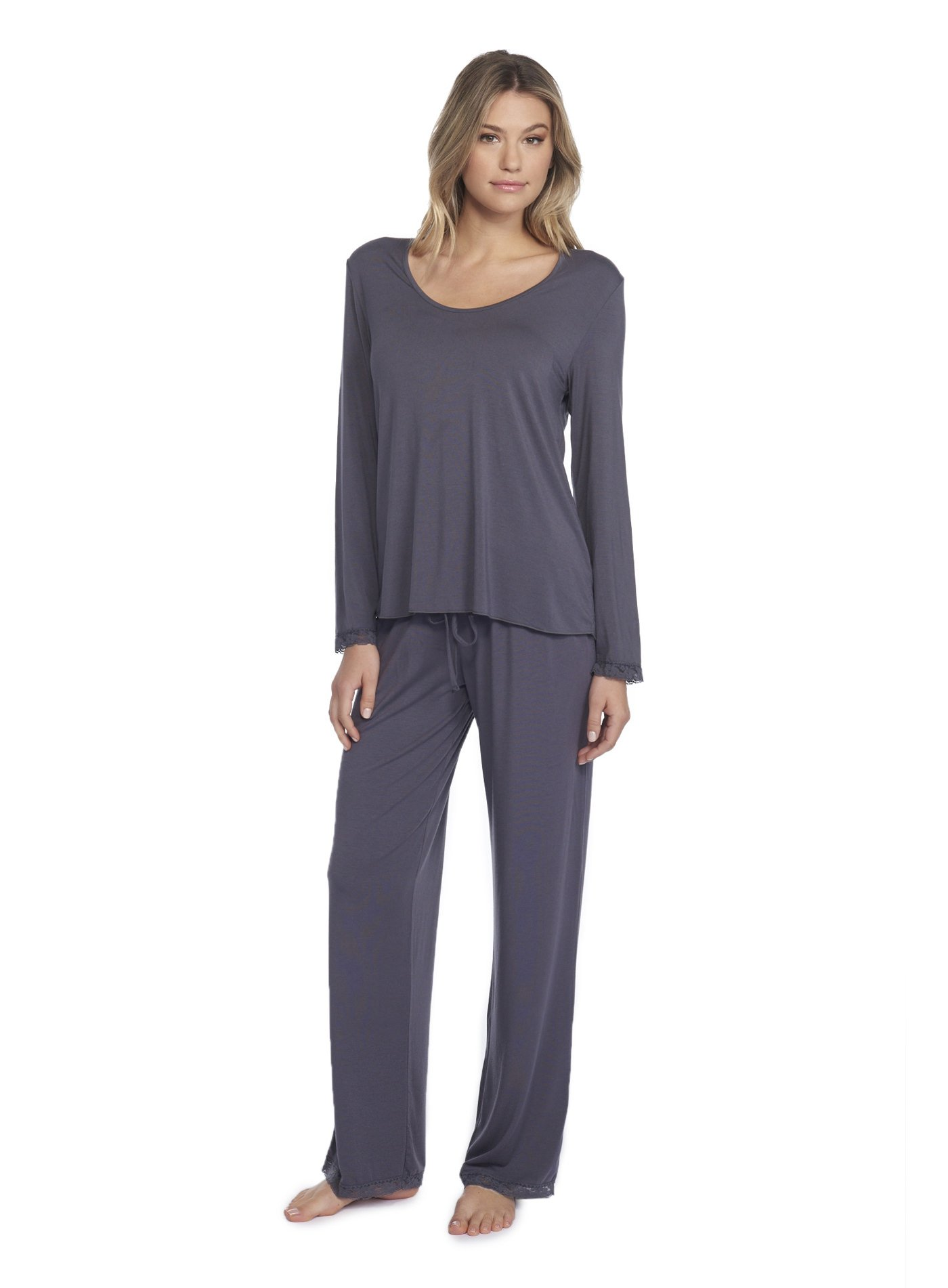 Barefoot Dreams Luxe Milk Jersey Classic Pant & U-Neck Long Sleeve Tee Set Graphite
