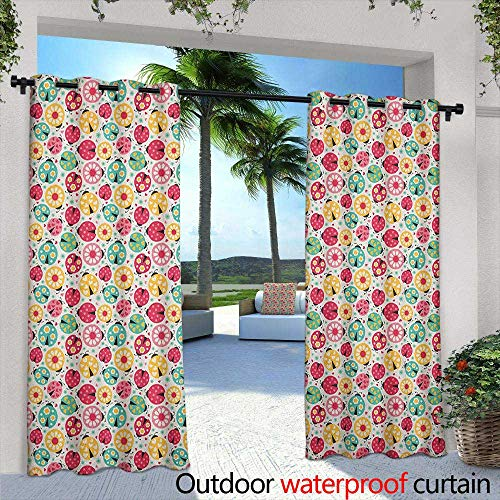 LOVEEO Ladybugs Grommet Outdoor Curtains Abstract Bug Pattern with Many Different Designs Hearts Polka Dots Daisies Nature Embossed Thermal Weaved Blackout 108