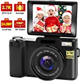 Digital Camera Vlogging Camera with YouTube 24MP 2.7k Full HD Camera with Flip Screen 180 Degree Rotation (s1)