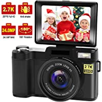 Digital Camera Vlogging Camera with YouTube 24MP 2.7k Full HD Camera with Flip Screen 180 Degree Rotation (G1)