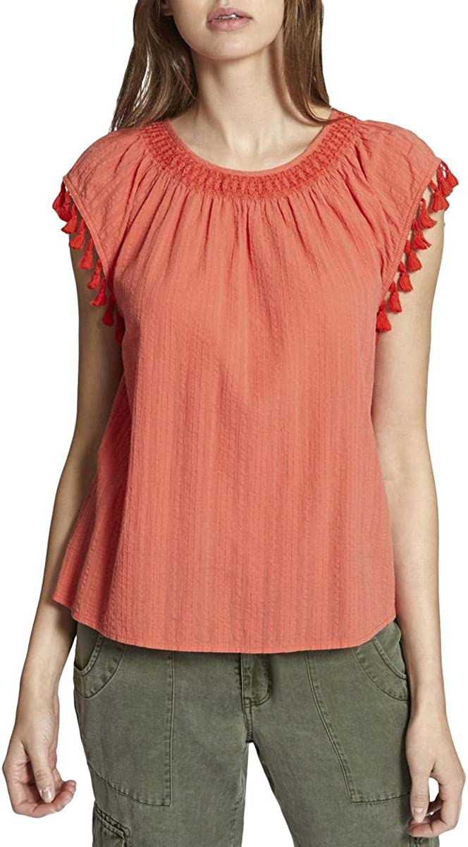 Sanctuary Womens Tassel Cap Sleeves Pullover Top Orange XL