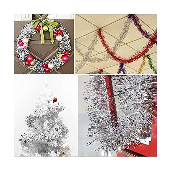 BHGT 6 Pezzi Ghirlanda Natalizia Festone Orpello Argento per Albero di Natale Decorazioni Natalizie Addobbi Ornamenti Natalizi 3 spesavip