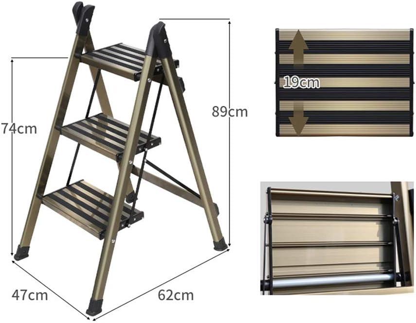 XSJZ Escaleras telescópicas Escalera Plegable, Escalera Pequeña Engrosada de Aleación de Aluminio, Pedal Antideslizante de Ancho Completo, Taburete Telescópico de Escalera de Espiga Multifuncional Esc: Amazon.es: Hogar