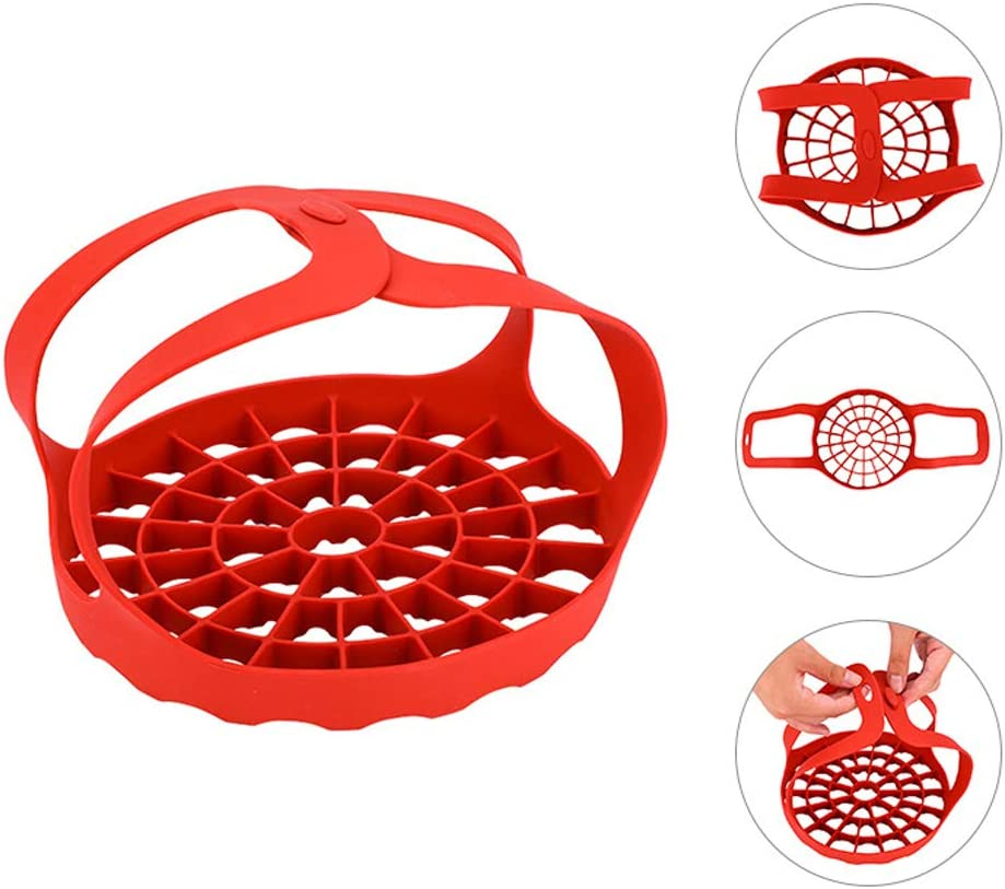 Compatible with Other Brand Multi-Function Cookers Pressure Cooker Sling Silicone Bakeware Accessories Silicone Egg Steamer for Instant Pot Under 7.9 inch Red