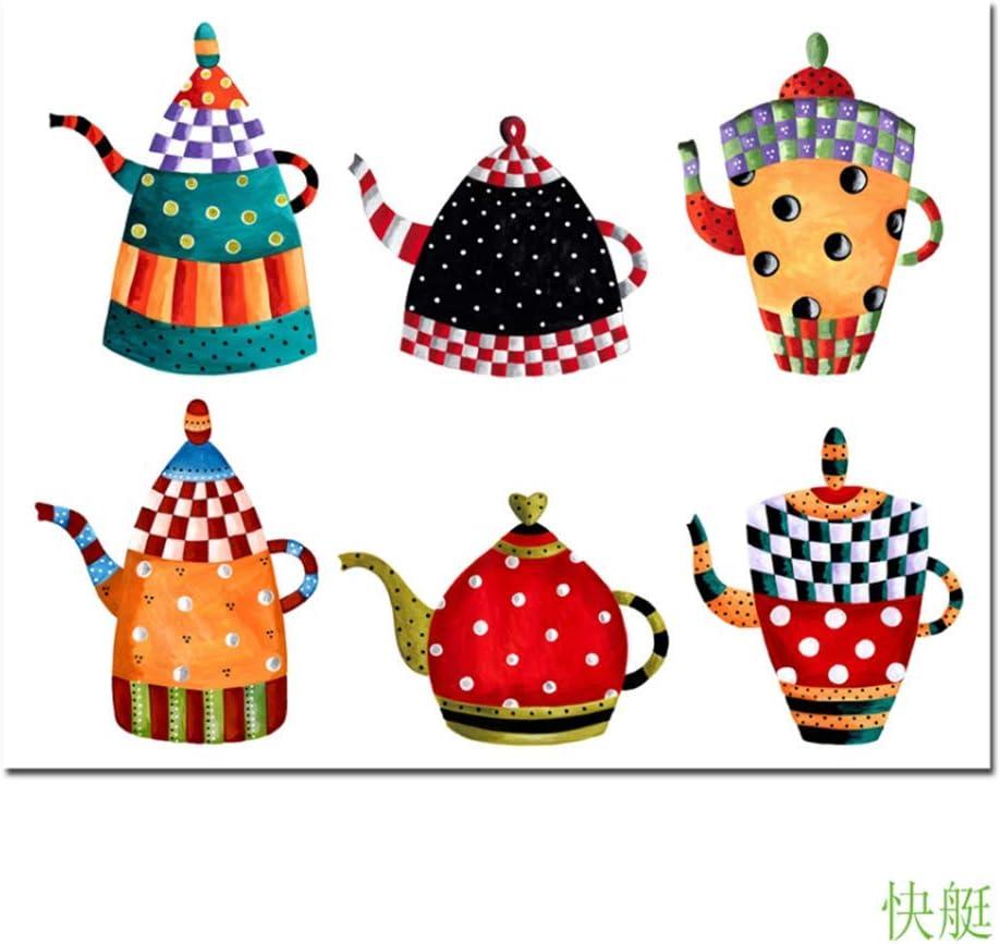 XuFan Arte de la Lona Cocina Pintura Decorativa Todo Tipo Caldera Pintura de Dibujos Animados Pintura de la Lona Impresiones Modernas de la Pared Carteles-60x80cm Sin Marco