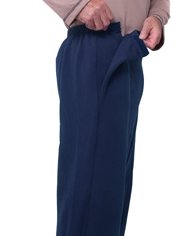 Mens Side Opening Arthritic Pants with VELCRO® Brand Fasteners - Navy XL