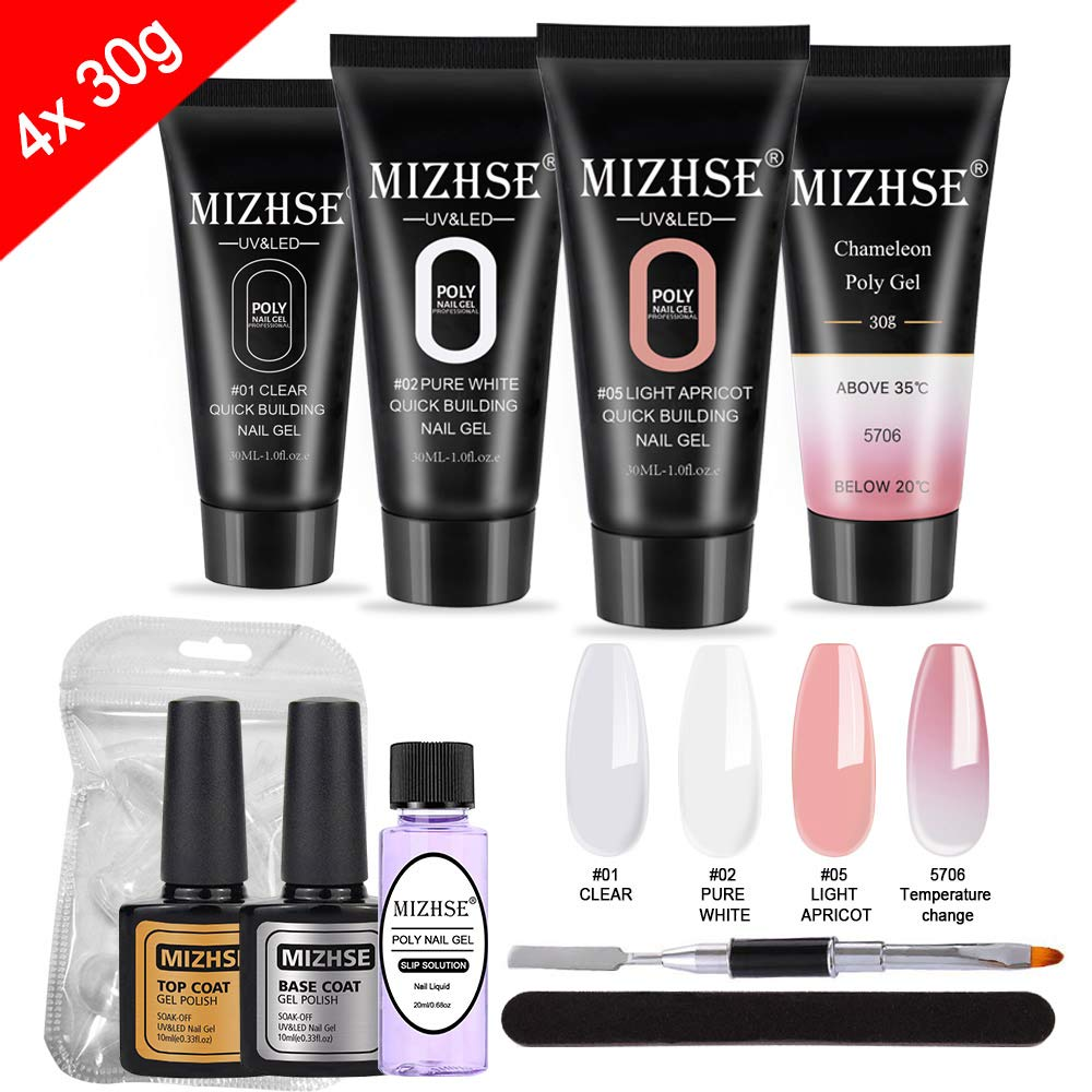 MIZHSE Poly Nail Gel Kit 30ml- Nail Extension Gel Kit Enhancement Builder Gel Trial kit Professional Nail Technician 4pcs All-in-One French Kit for Starter with Gift Box by MIZHSE