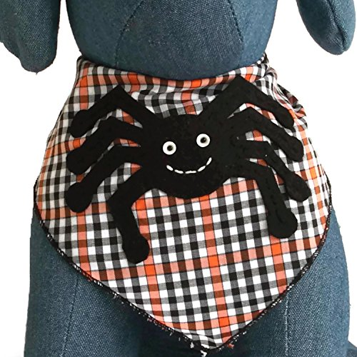 Halloween Dog Bandana with Itsy Bitsy Spider Applique 100% Cotton (Medium)]()