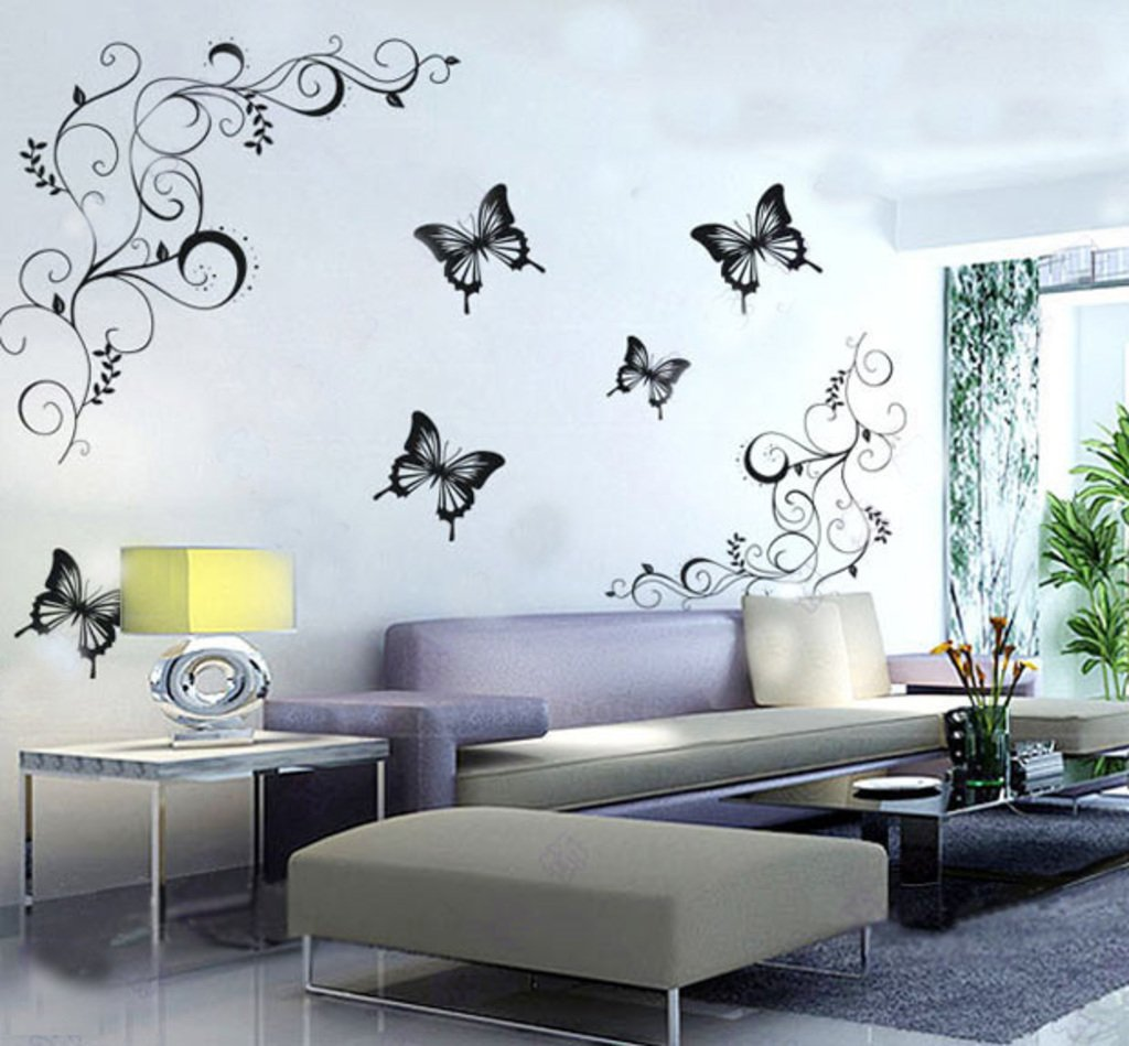 Buy Decals Design U0027Lovely Butterfliesu0027 Wall Sticker (PVC Vinyl, 60 Cm X 90  Cm, Black) Online At Low Prices In India   Amazon.in