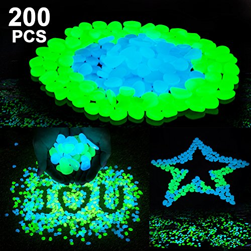 Stripsun 200Pack Glow in The Dark Garden Pebbles for Walkways Outdoor Decor Aquarium Fish Tank Path Lawn Yard, Glow Stone Rocks Outdoor Garden Decorative Stones in Blue & Green