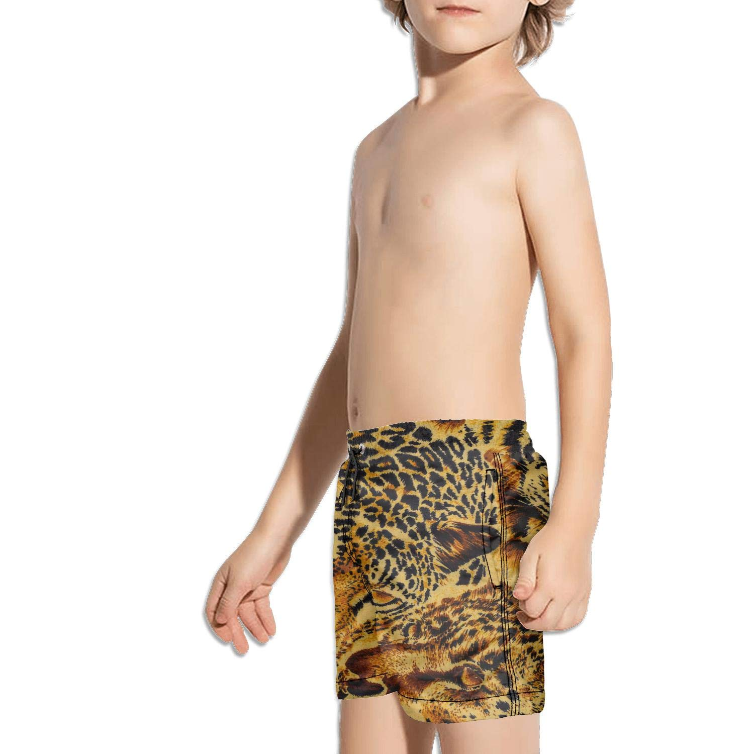 Animal Print Leopard Texture Camouflage String Core Side Split Swimming Trunks Shorts