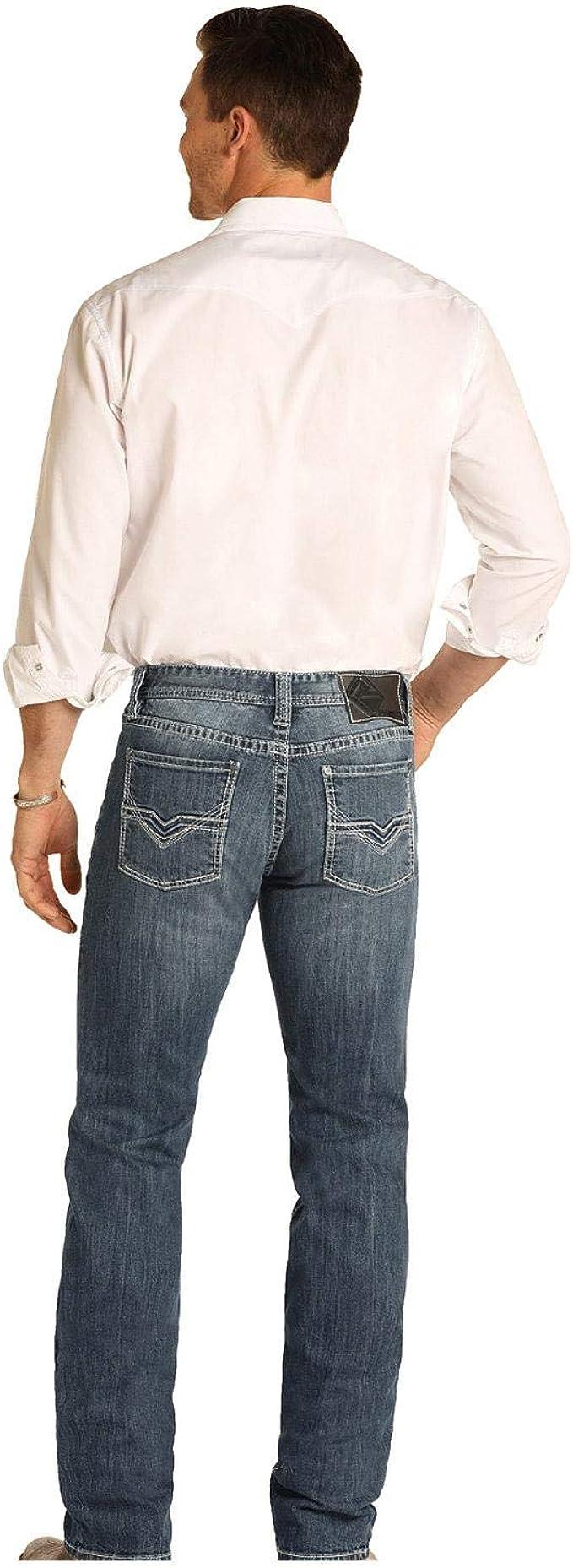 M1R5155 32W x 34L Rock /& Roll Denim Mens Revolver Slim Fit Straight Leg Jean