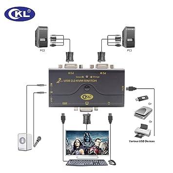 VGA KVM Switch 2 Puertos + Kits de Cable + USB 2.0 HUB Soporte de Audio Micrófono 2048 * 1536 450MHz, 2 computadoras Compartiendo PC Monitor Teclado ...