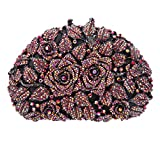Image of Fawziya Rhinestone Rose Clutch Purse For Party Handbags For Women-AB Red