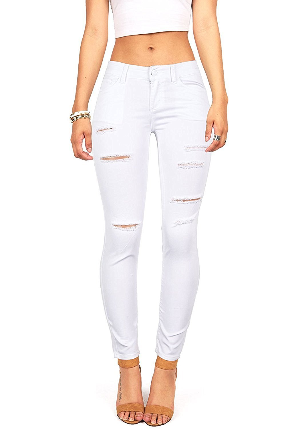 Women's Hight Waisted Butt Lift Stretch Ripped Skinny Jeans Distressed Denim Pants (US 10, White 16)