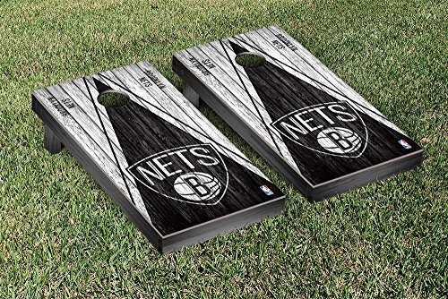 Brooklyn BKN Nets NBA Basketball Regulation Cornhole Game Set Triangle Weathered Version by Victory Tailgate