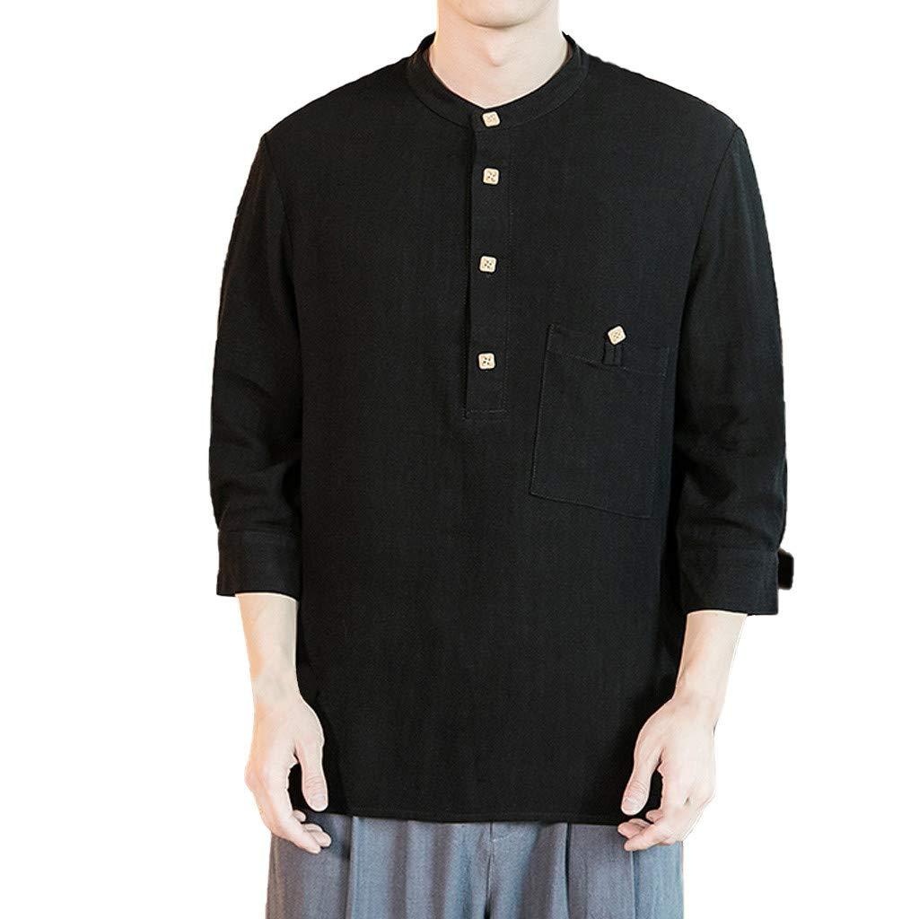 Men's Summer Casual Cotton Linen Three Quarter Sleeve T Shirts Top Blouse Black