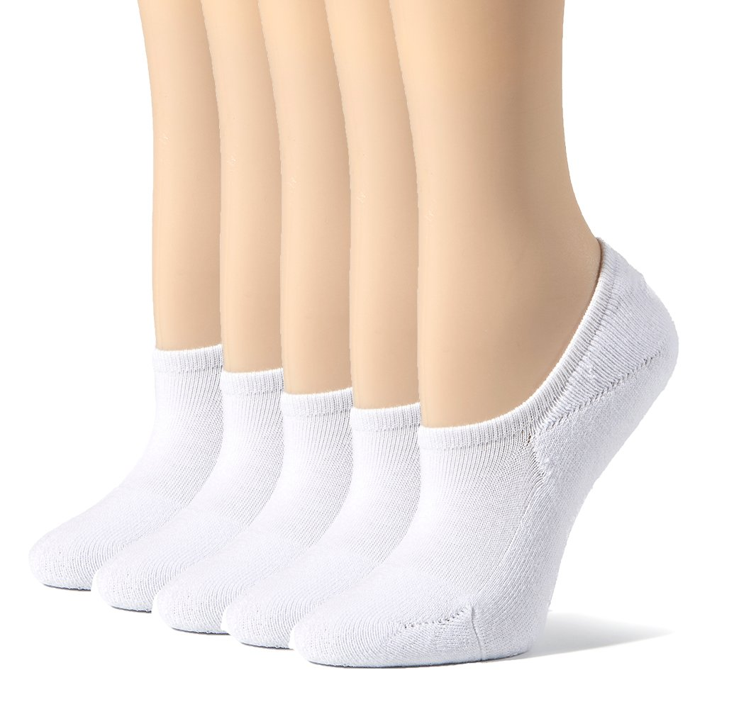 Leotruny Women's Cushion Sweat-absorbent Breathable Soft Athletic No Show Socks (White)