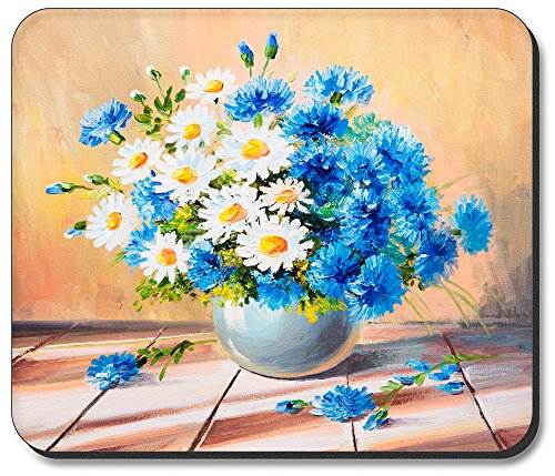 Art Plates Mouse Pad - Blue & White Dasies (Fathers Dasy)