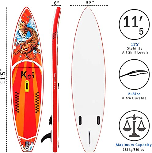 FEATH-R-LITE Inflatable Stand Up Paddle Boards 6 Inches Thick for Youth Adult Everything Included with Board, Non-Slip Deck, Travel Backpack, Adj Paddle, Pump, Leash, Water Proof Bag, Repair Kit