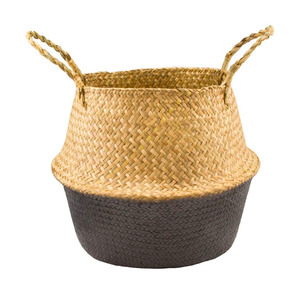 dezirZJjx Seagrass Weaving Belly Basket Foldable Home Storage Bucket for Toy Sundries Clothes,Plants Basket with Handles White S