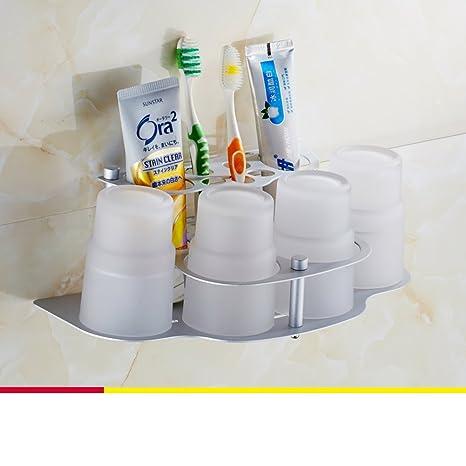 Espacio cepillo de dientes titular de aluminio/ crema dental/Mug/ cepillo de dientes