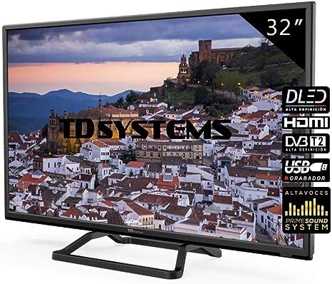 TD Systems Televisor 2X HDMI, VGA, USB, 800 PCI Hz, Grabador Reproductor, DVB-T2/C/S2 Modo Hotel - K32DLM10H Negro ...
