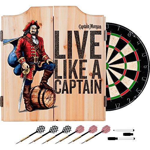 Trademark Gameroom Captain Morgan Dart Cabinet Set with Darts and Board