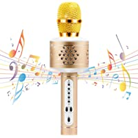 UD Wireless Bluetooth Karaoke Microphone and Speaker System for Home KTV Outdoor Family Party Music (Gold)