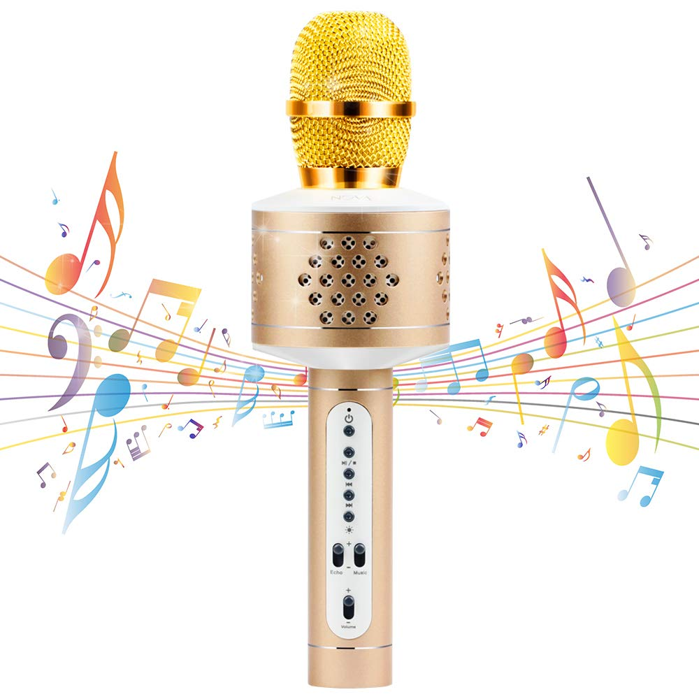 Wireless Bluetooth Karaoke Microphone, MIANOVA Bluetooth Microphone Machine for Kids , Portable Microphone and Speaker System for Home KTV Outdoor Family Party Music,for iOS Android Smartphon Gold