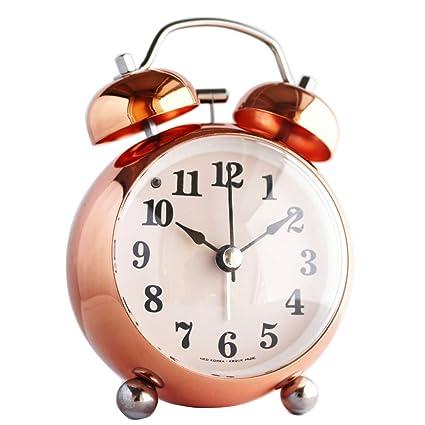 Superieur Modern Metal Rose Gold Alarm Clock Silent Non Ticking Decorative Battery  Operated Desktop Clock,