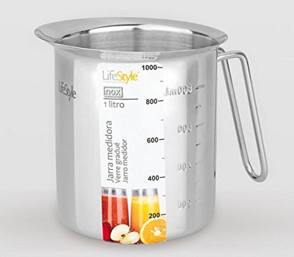 Life Style - Pot à Lait avec Echelle de Capacité - Acier Inoxydable - 1 L
