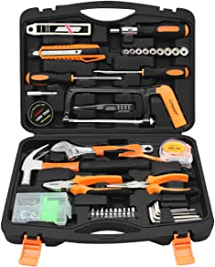 Towallmark Tool Set, 108PCS Home Tool Set, Home Repair Tool Set, Household Tool Set, General Household Hand Tool Kit with Plastic Toolbox Storage Case for Home, Apartment, Garage, Dorm and Office