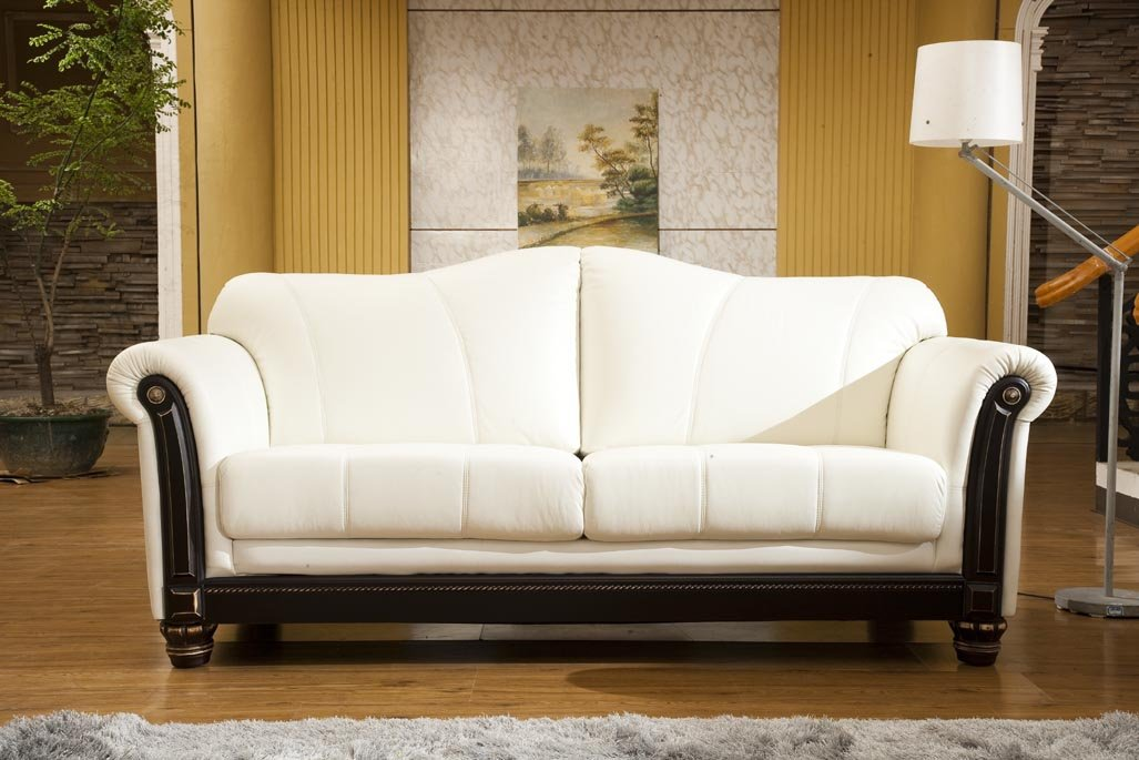 Designer Ledersofa Ledermöbel Leder-Sofa-3 Sitzer Garnitur Couch 278-3-weiß