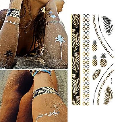Oottati Tatuajes Temporales Dorados Metalicos Purpurina Piña ...