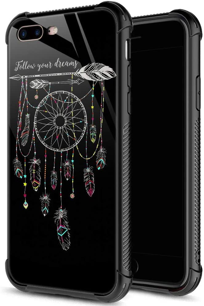 ZHEGAILIAN iPhone 8 Plus Case,9H Tempered Glass iPhone 7 Plus Cases for Girls Womens,Personality Pattern Design Shockproof Anti-Scratch Case for Apple iPhone 7/8 Plus 4.7 inch Follow Your Dreams