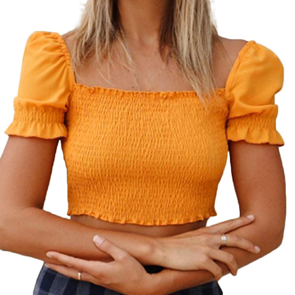 Shirts for Women Fashion Spring and Summer Square Collar Puff Sleeves Chiffon Retro Top Crop Top Yellow