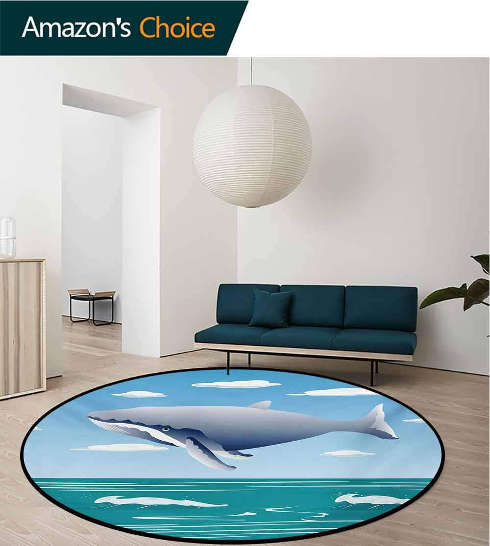 RUGSMAT Whale Non-Slip Area Rug Pad Round,Ocean Sunny Summer Landscape with Huge Jumping Whale On Air Cartoon Style Design Artwork Protect Floors While Securing Rug Making Vacuuming,Round-63 Inch by RUGSMAT (Image #2)
