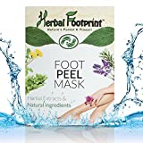 Herbal Footprint Foot Peel Mask-Foot peeler exfoliation booties-Callus peeling by exfoliating dead skin cells off-Natural skin exfoliator to get soft touch feet-2 large treatment socks for Men Women