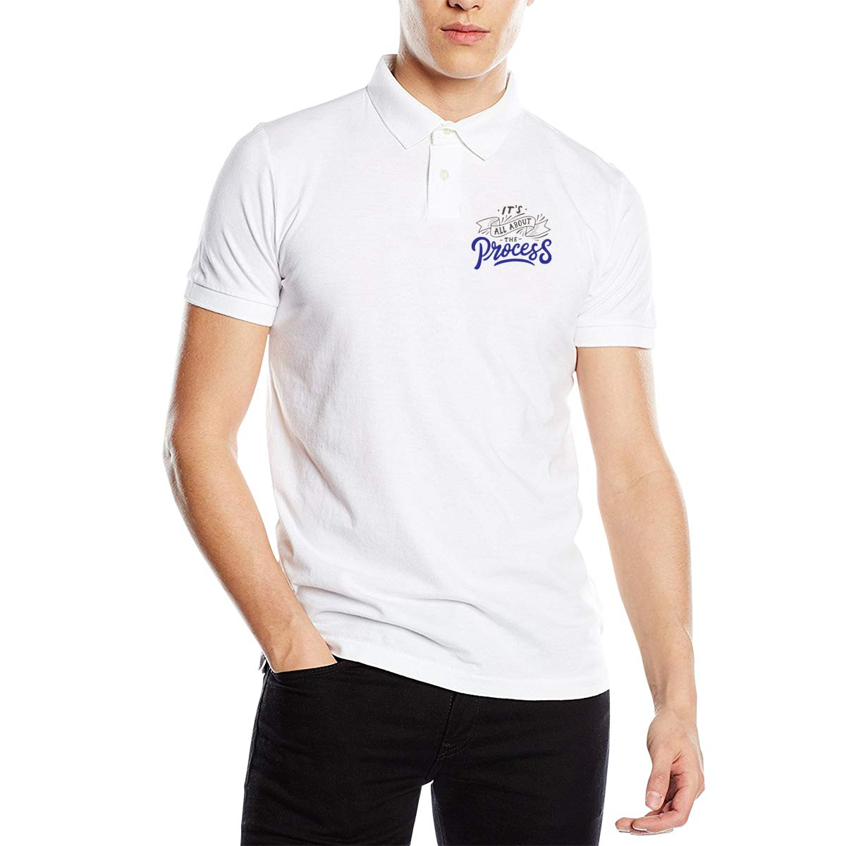 Its All About The Process Men Regular Fit Cotton Polo Shirts Classic Short Sleeve Polo White