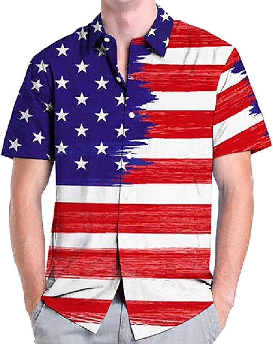 Wopop Mens Hawaiian American Flag Button Down Short Sleeve Tropical Aloha Shirts