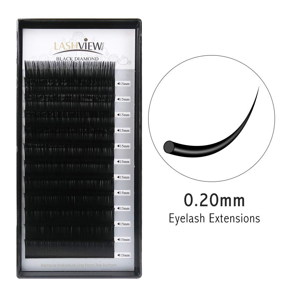 9d51a65fc96 LASHVIEW C CurlNatural Eyelash Extensions 0.20 Thickness Mink hick Lashes  Individual 15mm Silk Fake Semi-