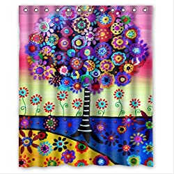 Special Design Tree of Life Waterproof Bathroom Fabric Shower Curtain