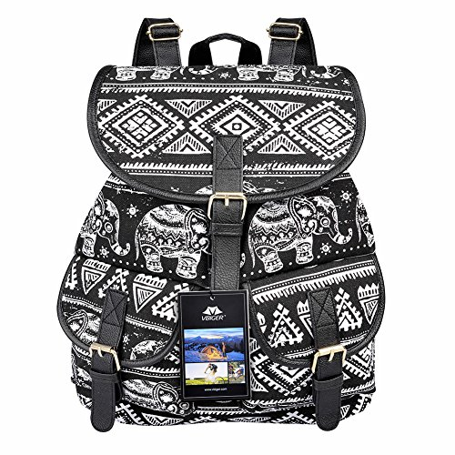Vbiger Canvas Backpack for Women & Girls Boys Casual Book Bag Sports Daypack (Elephant Black) by VBIGER