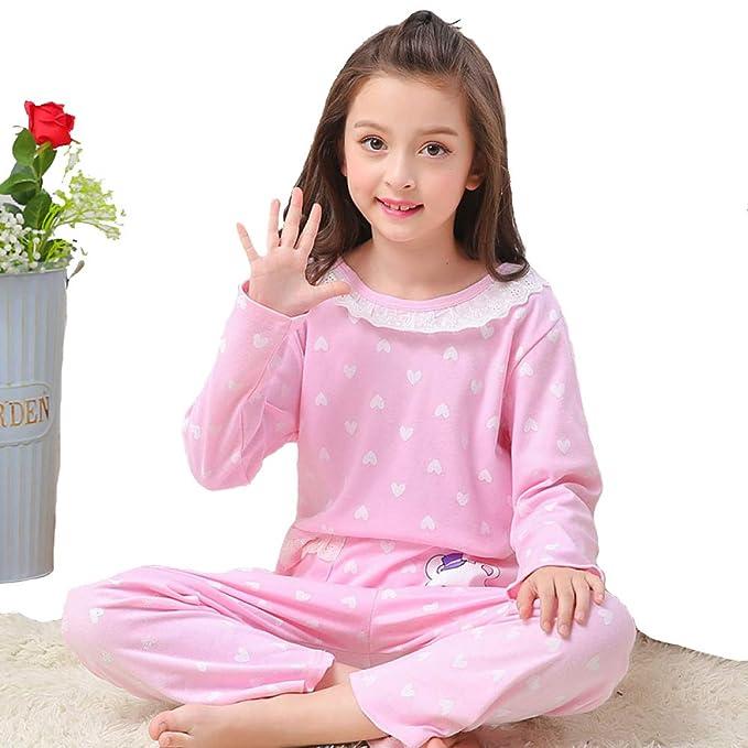 Pijamas para Niños, Primavera Y Otoño Nuevas Niñas Grandes De Manga Larga Traje De Servicio A Domicilio De Algodón para Bebés.: Amazon.es: Ropa y accesorios