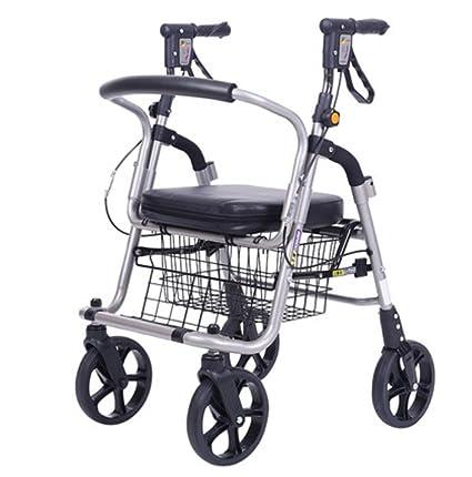 Silla de ruedas Walker para personas mayores, ligera aleación de aluminio Carrito de compras plegable